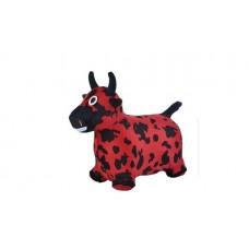 SPRING Прыгуны-животные КОРОВКА, PVC + съемный плюш.чехол,с насосом, 54*28*49см, Красно-черный     14