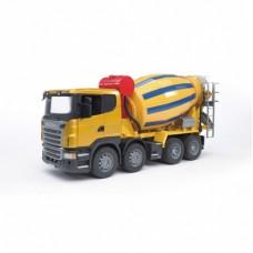 Игрушка Bruder 03-554 Бетономешалка Scania (цвет жёлто синий)