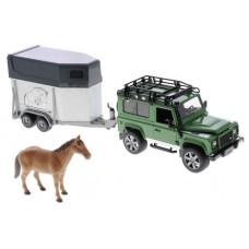 Внедорожник Bruder Land Rover Defender с прицепом-коневозкой и лошадью