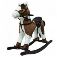 Качалка-Лошадка плюш белая с коричневыми пятнами PITUSO