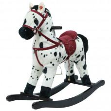 Качалка-Лошадка мягконабивная белая с чёрными пятнами PITUSO