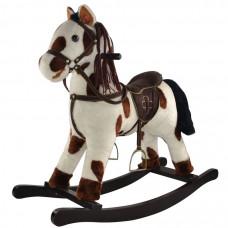 Качалка-Лошадка мягконабивная белая с коричневыми пятнами PITUSO