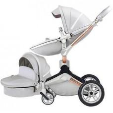 Детская коляска 2в1 Hot Mom F22 светло серый эко-кожа