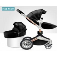 Детская коляска 2в1 Hot Mom 360º F23 BLACK 2in1 Экокожа